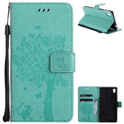 Embossing Butterfly Tree Leather Wallet Case for Sony Xperia M4 Aqua E2303 E2333 E2353 - Cyan
