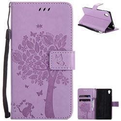 Embossing Butterfly Tree Leather Wallet Case for Sony Xperia M4 Aqua E2303 E2333 E2353 - Violet