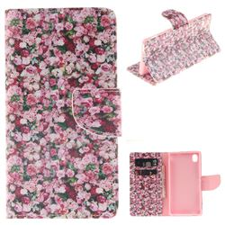 Intensive Floral PU Leather Wallet Case for Sony Xperia M4 Aqua E2303 E2333 E2353