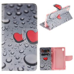 Heart Raindrop PU Leather Wallet Case for Sony Xperia M4 Aqua E2303 E2333 E2353