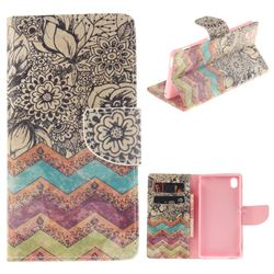 Wave Flower PU Leather Wallet Case for Sony Xperia M4 Aqua E2303 E2333 E2353