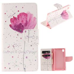 Purple Orchid PU Leather Wallet Case for Sony Xperia M4 Aqua E2303 E2333 E2353