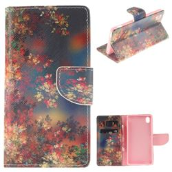 Colored Flowers PU Leather Wallet Case for Sony Xperia M4 Aqua E2303 E2333 E2353