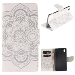 White Flowers PU Leather Wallet Case for Sony Xperia M4 Aqua E2303 E2333 E2353