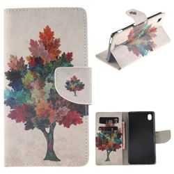 Colored Tree PU Leather Wallet Case for Sony Xperia M4 Aqua E2303 E2333 E2353