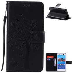 Embossing Butterfly Tree Leather Wallet Case for Sony Xperia M5 E5603 / M5 Dual E5633 - Black