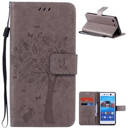 Embossing Butterfly Tree Leather Wallet Case for Sony Xperia M5 E5603 / M5 Dual E5633 - Grey