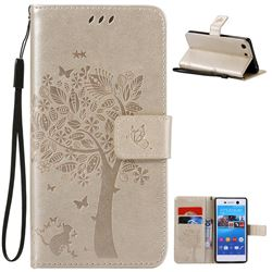 Embossing Butterfly Tree Leather Wallet Case for Sony Xperia M5 E5603 / M5 Dual E5633 - Champagne