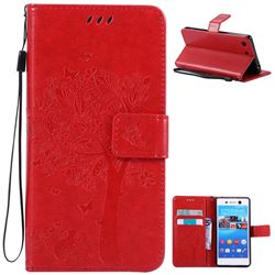 Embossing Butterfly Tree Leather Wallet Case for Sony Xperia M5 E5603 / M5 Dual E5633 - Red