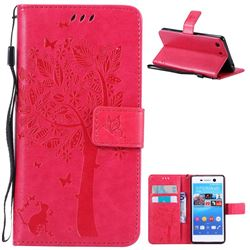 Embossing Butterfly Tree Leather Wallet Case for Sony Xperia M5 E5603 / M5 Dual E5633 - Rose