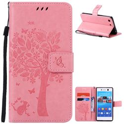 Embossing Butterfly Tree Leather Wallet Case for Sony Xperia M5 E5603 / M5 Dual E5633 - Pink