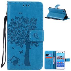 Embossing Butterfly Tree Leather Wallet Case for Sony Xperia M5 E5603 / M5 Dual E5633 - Blue