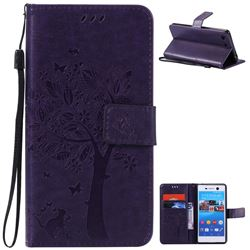 Embossing Butterfly Tree Leather Wallet Case for Sony Xperia M5 E5603 / M5 Dual E5633 - Purple
