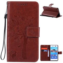 Embossing Butterfly Tree Leather Wallet Case for Sony Xperia M5 E5603 / M5 Dual E5633 - Brown