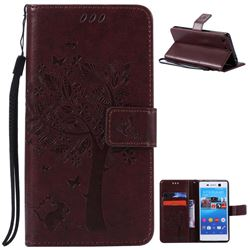 Embossing Butterfly Tree Leather Wallet Case for Sony Xperia M5 E5603 / M5 Dual E5633 - Coffee