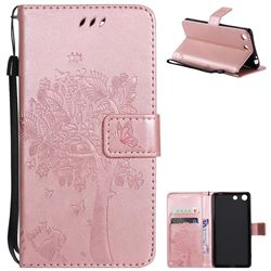 Embossing Butterfly Tree Leather Wallet Case for Sony Xperia M5 E5603 / M5 Dual E5633 - Rose Pink