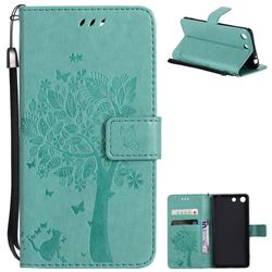 Embossing Butterfly Tree Leather Wallet Case for Sony Xperia M5 E5603 / M5 Dual E5633 - Cyan