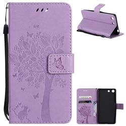 Embossing Butterfly Tree Leather Wallet Case for Sony Xperia M5 E5603 / M5 Dual E5633 - Violet