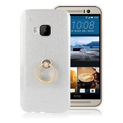 Luxury Soft TPU Glitter Back Ring Cover with 360 Rotate Finger Holder Buckle for HTC One M9 - White