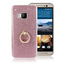 Luxury Soft TPU Glitter Back Ring Cover with 360 Rotate Finger Holder Buckle for HTC One M9 - Pink