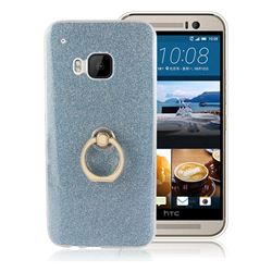 Luxury Soft TPU Glitter Back Ring Cover with 360 Rotate Finger Holder Buckle for HTC One M9 - Blue
