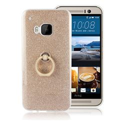 Luxury Soft TPU Glitter Back Ring Cover with 360 Rotate Finger Holder Buckle for HTC One M9 - Golden