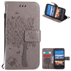 Embossing Butterfly Tree Leather Wallet Case for HTC One M9 - Grey