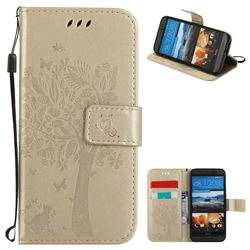 Embossing Butterfly Tree Leather Wallet Case for HTC One M9 - Champagne