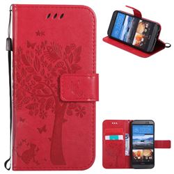 Embossing Butterfly Tree Leather Wallet Case for HTC One M9 - Red