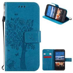 Embossing Butterfly Tree Leather Wallet Case for HTC One M9 - Blue