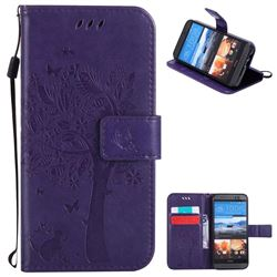 Embossing Butterfly Tree Leather Wallet Case for HTC One M9 - Purple