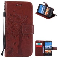 Embossing Butterfly Tree Leather Wallet Case for HTC One M9 - Brown