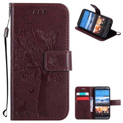 Embossing Butterfly Tree Leather Wallet Case for HTC One M9 - Coffee