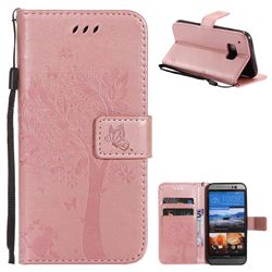 Embossing Butterfly Tree Leather Wallet Case for HTC One M9 - Rose Pink