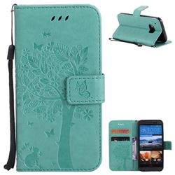 Embossing Butterfly Tree Leather Wallet Case for HTC One M9 - Cyan