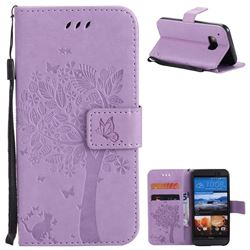 Embossing Butterfly Tree Leather Wallet Case for HTC One M9 - Violet