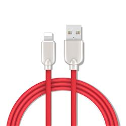1.5m Metal Zinc Alloy Candy 8 Pin USB Data Charging Cable for Apple iPhone / iPad / iPod - Red