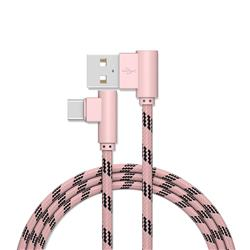 90 Degree Angle Nylon Type-c Data Charging Cable - Pink / 1m