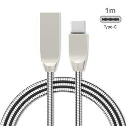1m Metal D Sharp Zinc Alloy Spring Type-C Data Charging Cable USB C to USB A Cable - Silver