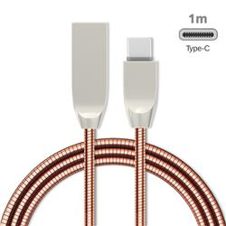 1m Metal D Sharp Zinc Alloy Spring Type-C Data Charging Cable USB C to USB A Cable - Rose Gold