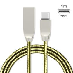 1m Metal D Sharp Zinc Alloy Spring Type-C Data Charging Cable USB C to USB A Cable - Golden