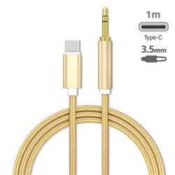 Audio Jack 3.5mm Male to Type-C Male Cable USB C to 3.5mm Jack Cable - 1m Golden
