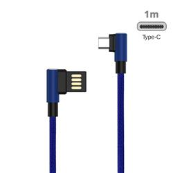 90 Degree Angle Metal Type-c Data Charging Cable - 1m / Blue