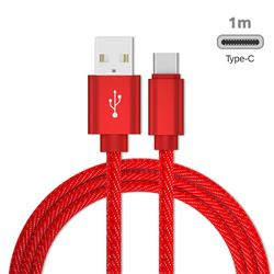 Jeans Braided Durability Anti-winding Type-C Quick Charging Cable - Red