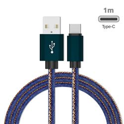 Jeans Braided Durability Anti-winding Type-C Quick Charging Cable - Blue
