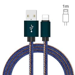 Jeans Braided Durability Anti-winding 8 Pin Quick Charging Cable - Blue