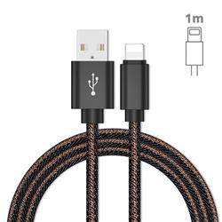 Jeans Braided Durability Anti-winding 8 Pin Quick Charging Cable - Black
