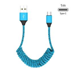 Type-c Stretch Spring Weave Data Charging Cable for Android Phones Laptop - Blue