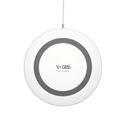 YOGEE Portable Wireless Charger 3.49mm Ultra-Slim Waterproof Mini Base Fast Charge Qi Wireless Charging Thin Pad YG349 White