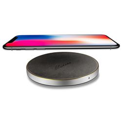 Suteni PU Leather Portable Wireless Phone Charger Fast Charge Qi Wireless Charging Thin Pad - Black